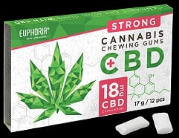 1 x 12 pieces CBD chewing gum with 18 mg CBD (1.5mg per piece) Euphoria Trade